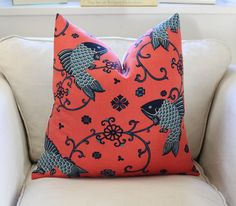 Oriental Fishes Pillow Cover in Indigo by Lee Jofa. DESCRIPTION  Finished size 20 square (this is to fit 22 square insert)  Front - Lee Jofa