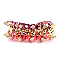 In Spikes We Trust Stack #ettika #jewelry #bracelets #orange #hotpink #magenta #summer #gold #spikes
