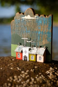 Freguesia do Ribeirão da Ilha - Florianópolis SC. Little Street of Little Houses & Church. Love this Piece so quaint & charming. Great use of that old Piece of weathered board for the Background too ;)