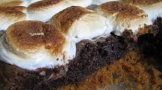 S'mores Brownies Recipe- use less butter, bake the graham crust before putting in the brownie