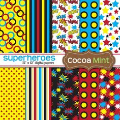 via Etsy.com CooaMint Superhero Digital Paper for $3.50