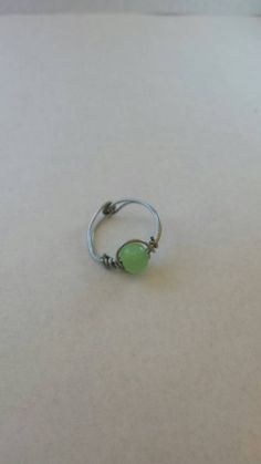 Jade wire wrapped glass midi ring boho gypsy by LouLeeAndMe