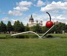 The Giant Sculptures of Claes Oldenburg. Spoonbridge and Cherry - Minneapolis Sculpture Garden, Walker Art Center, Minneapolis, Minnesota