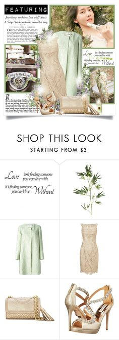 """Going to the Chapel (Summer Wedding)"" by mrstom ❤ liked on Polyvore featuring Pier 1 Imports, Gatsby, Mary Katrantzou, Adrianna Papell, Tory Burch, Badgley Mischka and Versus"