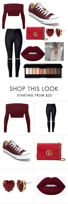 """""""Untitled #16"""" by xdhx16 ❤ liked on Polyvore featuring Converse, Gucci and Betsey Johnson"""