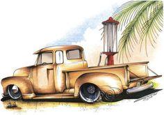 1950s Pickup on WHITE Unisex T Shirt Brent Gill Design POS281