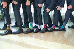 If James has three groomsmen, they can all wear different Hogwarts house socks! James will wear blue, of course ;)