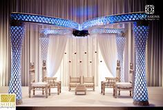 Breathtaking Butterfly Palazzo Mandap. Its unique shape and glittery columns will be hard to forget.  created by Occasions by Shangri-La. #HiltonOrlando