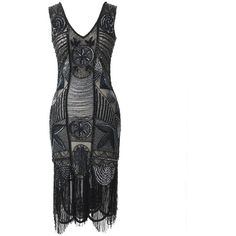 """Unique Vintage 1920s """"The Bosley"""" Black Beaded Flapper with Beaded... (€300) ❤ liked on Polyvore featuring dresses, flapper cocktail dress, silver cocktail dress, black slip, 1920s cocktail dresses and vintage flapper dress"""
