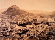 Syntagma Square and Mount Lycabettus on 1865 Best Hotels, Archaeology, Old Photos, Paris Skyline, Grand Canyon, City Photo, Greece, History, Country