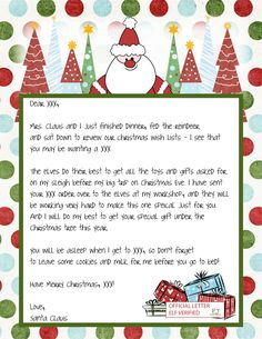 Letter From Santa..cute!