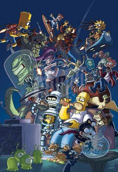 "justinrampage: ""The worlds of Futurama and The Simpsons collide as one in this excellent piece by Jason Ho (Comic Artist / Creator at Bongo Comics). Worlds Collide by Jason Ho / bootlegsketch. Cartoon Wallpaper, Simpson Wallpaper Iphone, Futurama, Cartoon Kunst, Cartoon Art, The Simpsons, Comic Movies, Homer Simpson, Dope Art"
