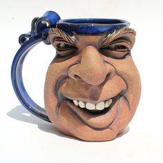 LAUGHOUTLOUD one of a kind FACE MUG by Herksworks on Etsy