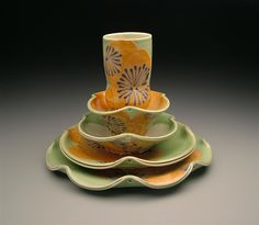 Jennifer Allen place setting click now for info. Pottery Plates, Pottery Art, Slab Pottery, Pottery Mugs, Tea Bowls, Plates And Bowls, Clay Plates, Ceramic Tableware, Ceramic Bowls