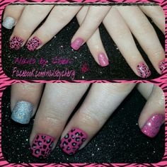Oh baby opi pink with leopard and silver on acrylic