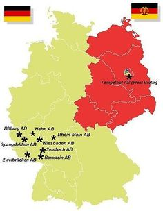 US Air Force Bases in West Germany during the Cold War (before the Fall of the Berlin Wall)