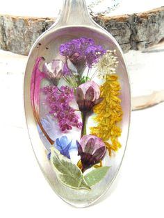 Real Flower Jewelry, Pressed flowers in Resin, Spoon Pendant, Real Plant…
