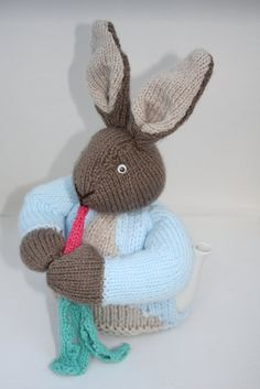 Peter Rabbit Tea Pot cosy Hand Knitted Tea cozy by sweetygreetings