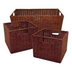 SET OF 3 WICKER BASKETS ONE LARGE AND TWO SMALL