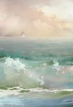 Sergey Temerev -- this painting's interest created solely by slight shifts and nuances in color. Art Watercolor, Watercolor Landscape, Abstract Landscape, Seascape Paintings, Landscape Paintings, Beach Paintings, Ocean Art, Ocean Waves, Fine Art