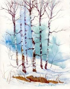Susie Short's Watercolor Christmas Card Ideas - Greeting Cards by proteamundi Watercolor Trees, Watercolor Cards, Watercolor Landscape, Watercolor Print, Watercolor Paintings, Watercolors, Watercolor Christmas Cards, Winter Art, Watercolor Techniques