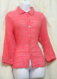 Chico's Size 1 Small 8 Pink Shirt Womens 3/4 Sleeve Button Down #Chicos #ButtonDownShirt #CareerCasual
