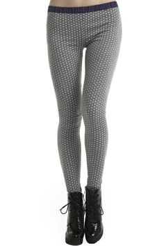 Little Point Print Grey Leggings. Description  Grey Leggings, featuring an elastic waist, little point print, a delicate length. Fabric Cotton. Washing  Hand wash seperately. #Romwe