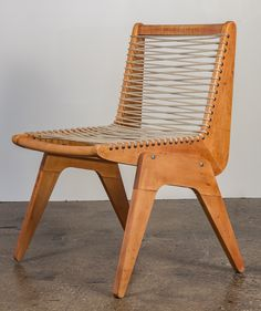Kingston Rope Chair designed by Robert Kayton and Associates. 1940s-1950s. This chair's design is often attributed to Klaus Grabe.