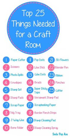 'Top 25 Things Needed for a Craft Room...!' (via Soda Pop Avenue)                                                                                                                                                                                 More