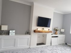 Grey and white living room alcove - alcove cabinet, tv on chimney breast , railway sleeper shelf - diy cabinets room Layout Home Living Room, Living Dining Room, Living Room Cabinets, New Living Room, Living Room Grey, Alcove Ideas Living Room, Alcove Cabinets, Cosy Living Room, Living Room Tv