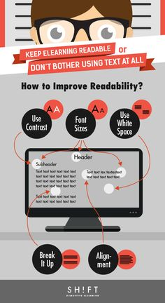 Designing eLearning for Readability Infographic - http://elearninginfographics.com/designing-elearning-readability-infographic/