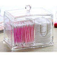 Coton-Pad Distributeur Acrylique Transparent Boîte de Rangement Ecouvillon de Coton Maquillage Cosmétique