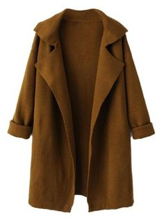 Shop Brown Lapel Long Sleeve Knit Coat from choies.com .Free shipping Worldwide.$41.99