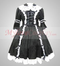 Black Girls Long-sleeved Dress Cosplay Costumes For Sale