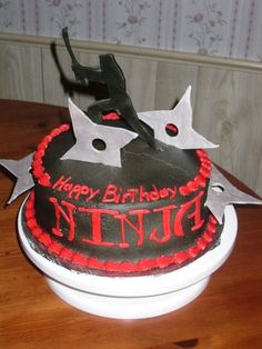 If you are looking for some great ideas to help you plan your son's birthday party this year, you've come to the right place! Below you are going to find some amazing ideas for a Ninja birthday party that will make you a hero in your son's eyes and. Ninja Birthday Cake, Ninja Cake, Ninja Birthday Parties, Bithday Cake, Kids Birthday Themes, Birthday Fun, Birthday Stuff, Karate Cake, Karate Party
