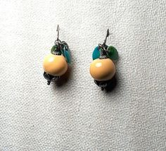 Yellow Stoneware with Enameled Accent Earrings by Justatishdesigns