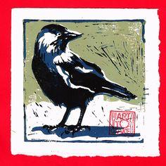 Kauw II - linosnede Lino Art, Mobile Art, Birds 2, Block Prints, Kitchen Art, Wood Blocks, Printmaking, Posters, Animals