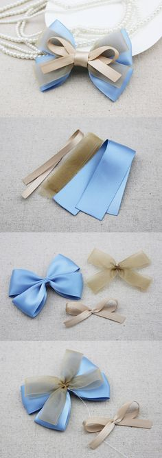 Choose from a collection of best bow tutorials to learn to make stylish bows in many different ways using ribbon, felt, fabric, paper, crochet and knitting. Diy Ribbon, Ribbon Crafts, Ribbon Bows, Ribbons, Ribbon Bow Tutorial, Hair Bow Tutorial, Felt Bows, Ribbon Art, Fabric Ribbon