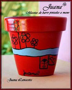 Macetas De Barro Pintadas A Mano - Souvenirs - Nro 8