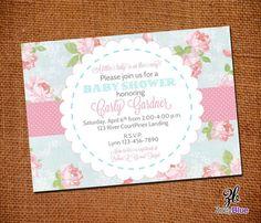 Shabby Chic Baby Shower Invitation Vintage Floral Pink Blue Girl Baby Shower Pattern -Digital File