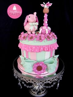 elephant giraffe baby shower cake
