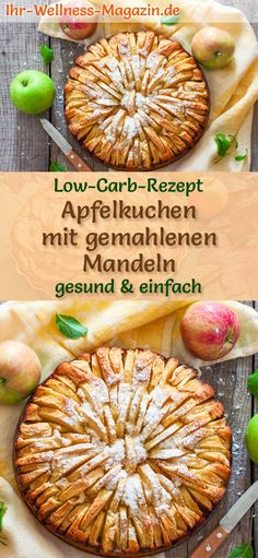 Low-Carb-Apfelkuchen mit gemahlenen Mandeln – Rezept ohne Zucker Juicy apple pie with ground almonds: Simple low-carb recipe for apple-almond cake – baked without sugar and flour, the cake is healthy, low in carbohydrates, calorie-reduced and delicious … Apple And Almond Cake, Almond Cakes, Apple Pie, Easy Healthy Recipes, Low Carb Recipes, Healthy Snacks, Simple Snacks, Almond Recipes, Apple Recipes