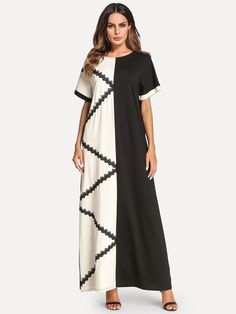 Modest Tunic Shift Straight Round Neck Short Sleeve Natural Black and White Maxi Length Lace Crochet Contrast Color Block Longline Dress Vintage Party Dresses, Party Dresses For Women, Casual Dresses For Women, Dress Vintage, Korean Fashion Dress, Women's Fashion Dresses, Maxi Dresses, Dress Plus Size, Long Summer Dresses