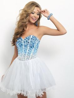 Blush Prom - 9677 at Estelle's Dressy Dresses! A fun and flirty short prom dress! Stunning crystals in sapphire, pale blue and white over a vertically pleated bust flow into a full circle skirt. #estellesdressydresses #ombre #prom2014
