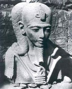 Statue of the Moon god Khonsu at the time of its discovery in 1903, Luxor, Egypt