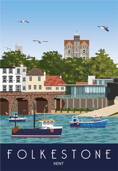 Art print Travel/Railway Poster of Folkestone Harbour & Rocksalt Restaurant. in Retro, Art Deco style design Posters Uk, Beach Posters, Railway Posters, British Travel, British Seaside, British Isles, Places Around The World, Around The Worlds, Tourism Poster
