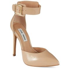 Steve Madden Flashback Leather Ankle-Strap Stilettos ($90) ❤ liked on Polyvore featuring shoes, heels, high heels, nude, stilettos shoes, heels stilettos, nude high heel shoes, high heels stilettos and high heel shoes