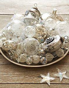 White Vintage Christmas Ideas For A Dreamlike Holiday Coastal Christmas, Silver Christmas, Noel Christmas, Vintage Christmas, Christmas Ornaments, Silver Ornaments, Vintage Ornaments, Glass Ornaments, Silver Baubles