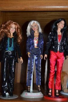 These are just 3 of my many many dolls they are NOT Barbies like most think they are Celebrity Dolls with the actual faces as you can see this is the Charlies Angels set not the Old ones.. Drew Barrymore, Lucy Lui and Cameran Diaz.. I am a huge fan of the old Charlies Angels and have some of those also mostly Farrah Fawcett. They are the size of Barbies ... My favorite Celebrity Doll is??? ALL OF THEM!