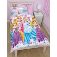 Disney Princess Dreams Single Duvet Cover and Pillowcase Set with Rotary Print Your little princess will love this Disney Princess duvet cover set, featuring Cinderella, Rapunzel and Aurora.In shades of pink, blue and white, the set is fit for her royal chamber and will give her a restful night's sleep fit for a Disney heroine. It flaunts a rotary print of the three princesses standing in front of the palace, surrounded by flowers. The reverse, meanwhile, is in pink and features a pretty ...